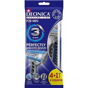 """Станок для бритья """"DEONICA FOR MEN"""" 2 лезвия / 4шт. + 1 шт."""