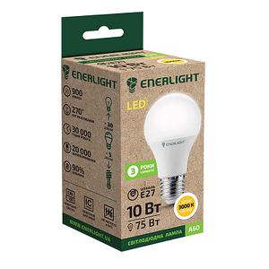 Стандарт Лампа светодиодная ENERLIGHT A60 10Вт 3000 K E27 Ш.К. 4823093500051