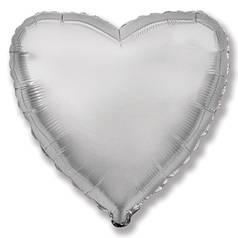 """Фол куля мікро Flexmetal 4""""/10см Серце металік срібло (ФМ)"""