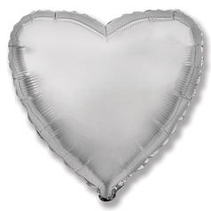 "Фол шар микро Flexmetal 4""/10см Сердце металлик серебро (ФМ)"