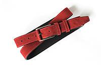 Ремень кожаный замшевый женский 115 см LeathART acs0000864 Красный