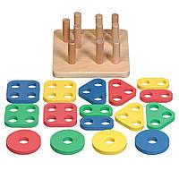 Іграшки з дерева Світ дерев'яних іграшок  Сортер логічний квадрат  (Д020)