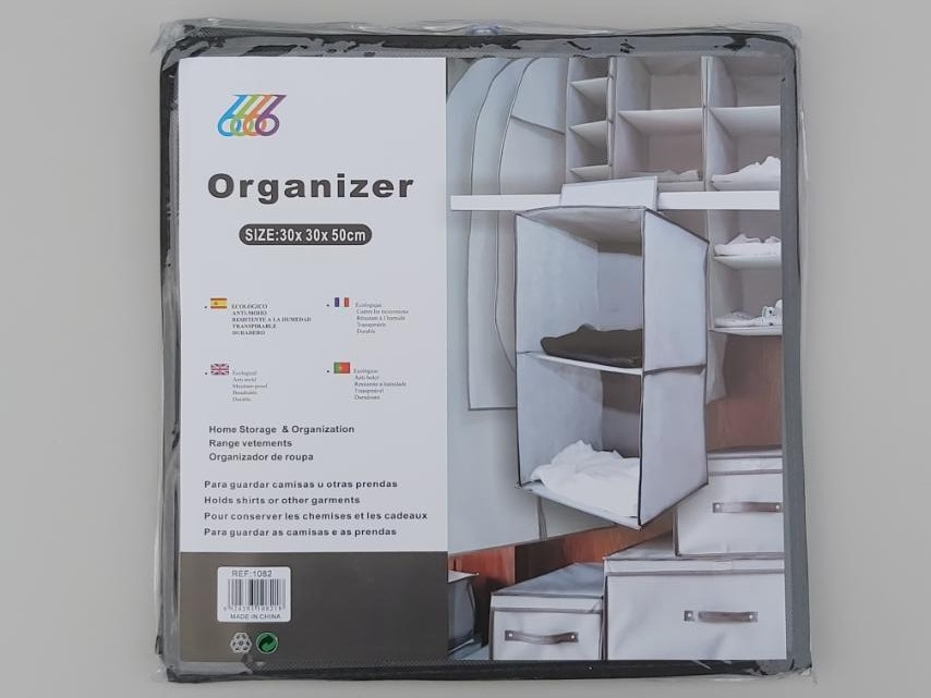 Розмір 30×30×50 см, на 2 секції. Підвісний органайзер для зберігання одягу.
