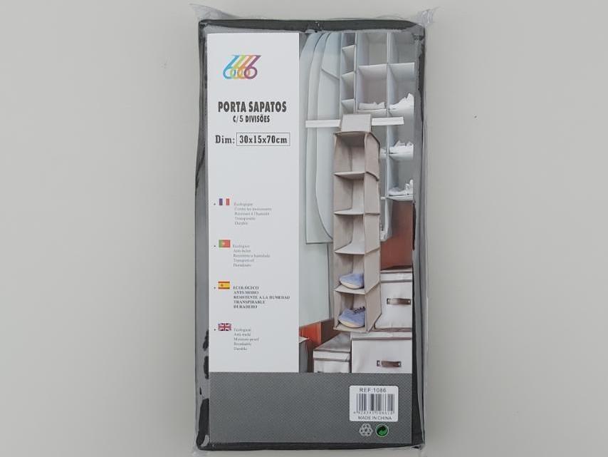 Размер 30×15×70 см, на 5 секций. Подвесной органайзер для хранения обуви или одежды.