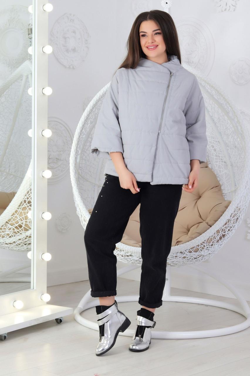 Куртка свободного кроя с укороченным рукавом батал М524  серая / серый / серого цвета