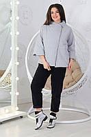 Куртка свободного кроя с укороченным рукавом батал М524  серая / серый / серого цвета, фото 1