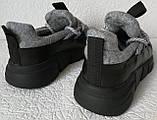 Женские стильные кроссовки текстиль с натуральной кожей черная подошва, фото 4
