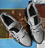 Женские стильные кроссовки текстиль с натуральной кожей черная подошва, фото 5