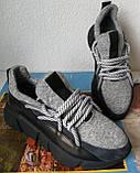 Женские стильные кроссовки текстиль с натуральной кожей черная подошва, фото 6