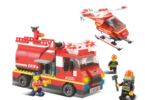 Конструктор SLUBAN Пожарные спасатели M38-B0222R, 409 деталей