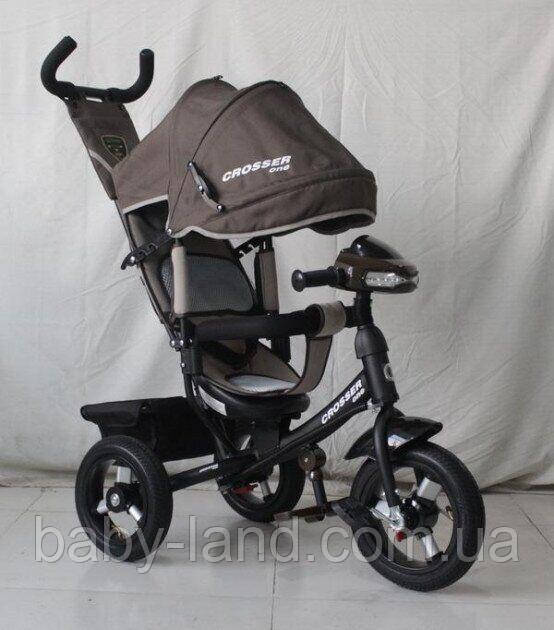 Трехколесный велосипед Azimut Crosser One T1 надувные колеса Коричневый
