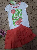 Костюм ,комплект для девочки ( лето ) на 7-8 лет , футболка белая с рисунком и коралловой юбочкой .юбкой .