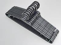Плечики вешалки пластмассовые V-L2 черного цвета, длина 43 см, в упаковке 10 штук