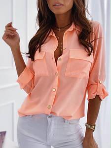 """Софтовая женская рубашка """"Lеa"""" с рукавом до локтя и карманами (2 цвета)"""