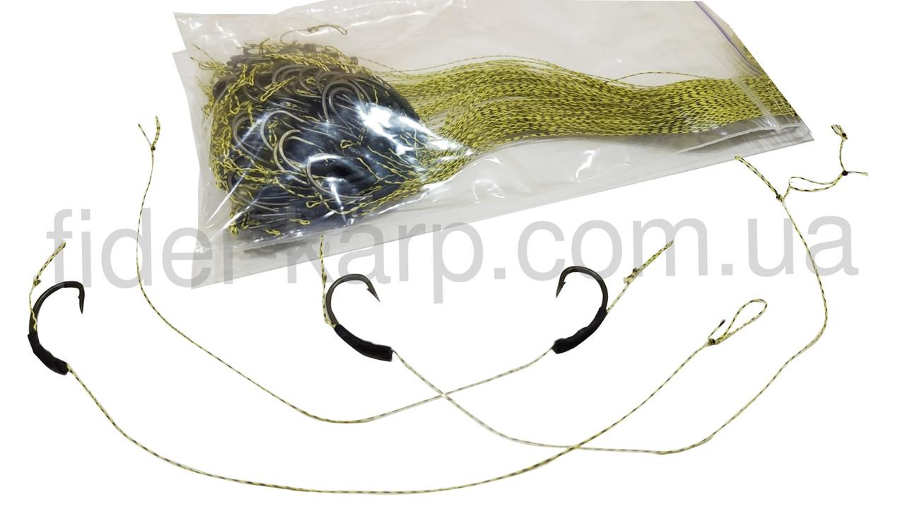 Карповый поводок (волос) , крючки «Kashima Carp Hook» (ТЕФЛОН) № 4 формы Банан , пр-во Япония