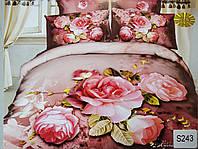 Сатиновое постельное белье евро 3D ELWAY S243