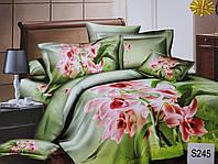 Сатиновое постельное белье евро 3D ELWAY S245