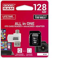 Флеш память SD 128GB Goodram + SD-adapter + OTG Card reader (Class 10) (M1A4-1280R12)
