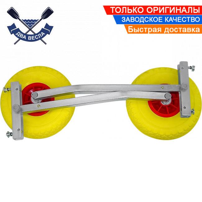 Автоматические транцевые колеса КТ-500 для лодки с НДНД до 170 кг, антипрокол, регулировка дорожного просвета