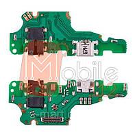 Шлейф  Huawei Mate 10 Lite RNE-L01 RNE-L21 с разъемом зарядки, разъемом наушников и микрофоном - нижняя плата