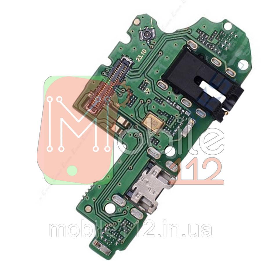 Шлейф  Huawei P Smart 2019 POT-L21 POT-LX1 с разъемом зарядки, наушников и микрофоном - нижняя плата