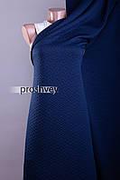 Ткань трикотаж стеганый - темно-синий, цветы