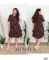Свободное шифоновое женское платье с цветочным принтом в расцветках больших размеров 48 - 54