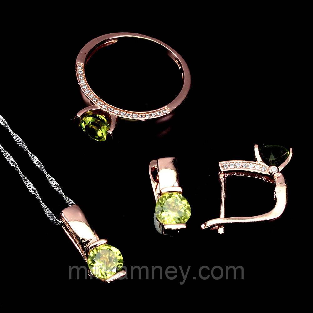 Ювелірний комплект натуральний камінь Хризоліт (Пакистан). Срібло в позолоті (кільце 18), сережки, кулон