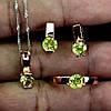 Ювелірний комплект натуральний камінь Хризоліт (Пакистан). Срібло в позолоті (кільце 18), сережки, кулон, фото 3