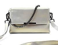 Кожаная женская сумка клатч Maryam перламутровая Серая