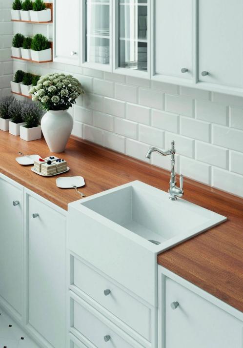 Кухонная накладная гранитная мойка 490 мм х 635 мм х 220 мм (белый)