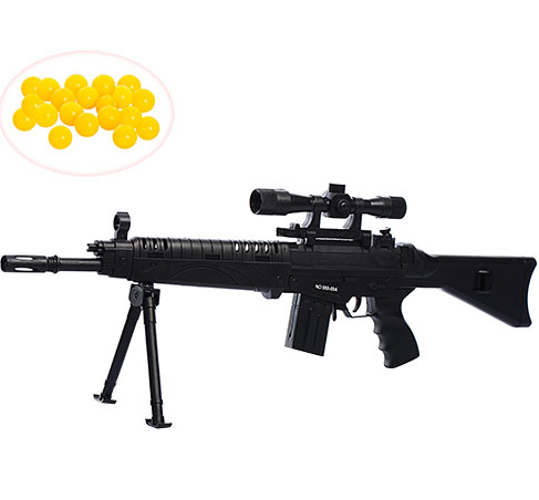 Автомат снайперская винтовка на пульках 63 см с лазером на батарейках.
