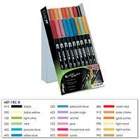 Tombow ABT Dual Brush Pen Set 18 - набор двухсторонних цветных маркеров 18шт (второстепенные цвета)
