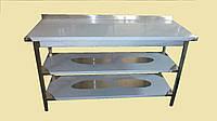 Стол производственный из нержавеющей стали с 2 (двумя) полками и бортом/без борта. 1200х600х850 мм.