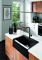 Кухонна накладна гранітна мийка 490 мм х 635 мм х 220 мм (чорний)