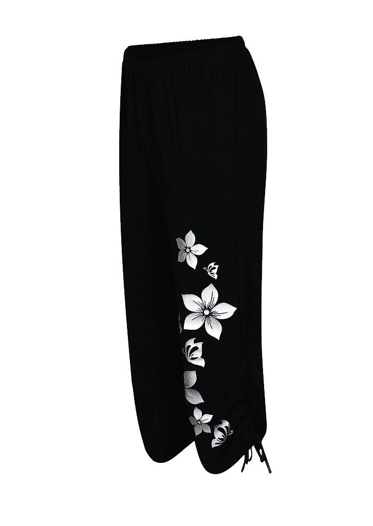 Женские брюки капри больших размеров Цветы