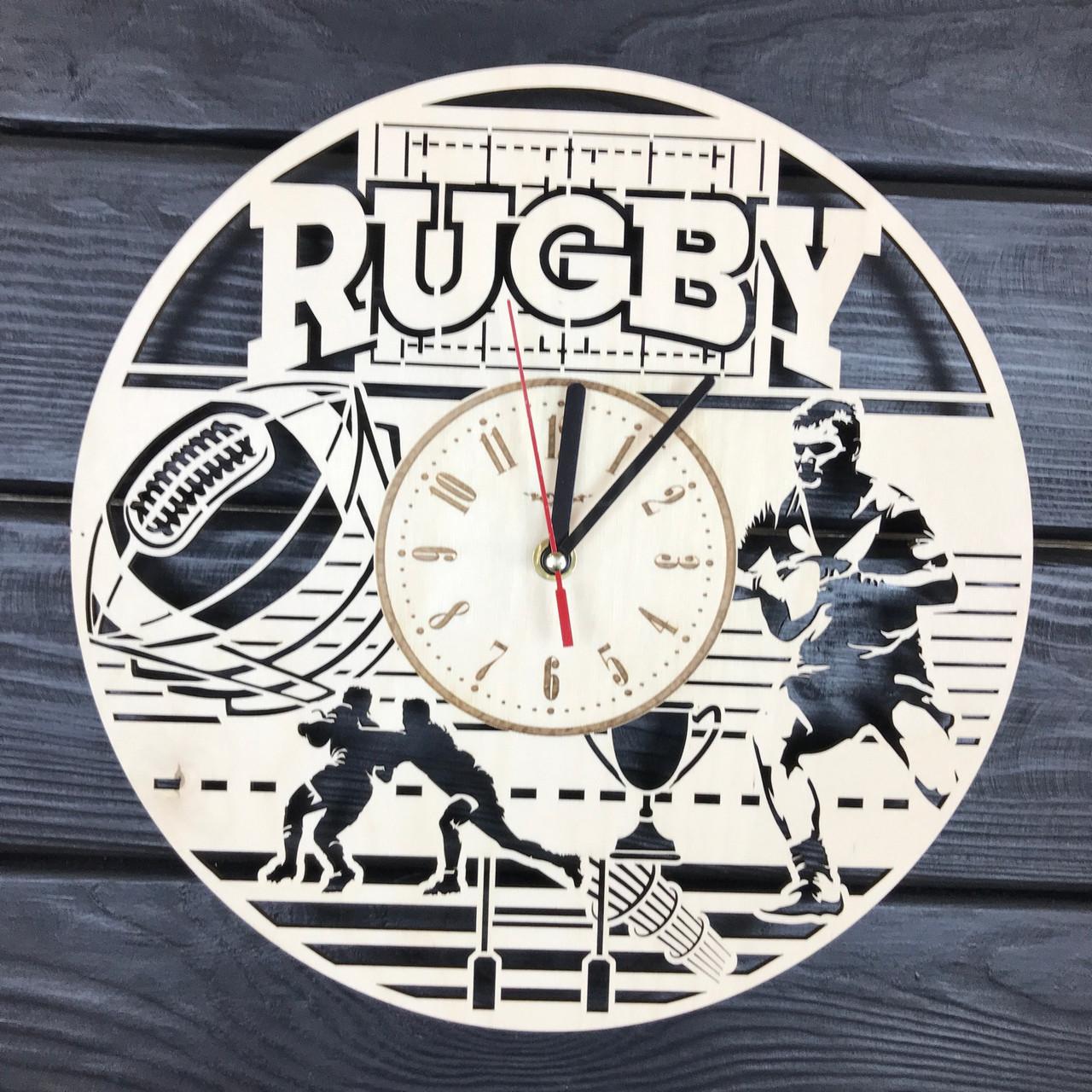 Тематические настенные часы из дерева «Регби»