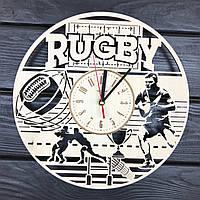 Тематические настенные часы из дерева «Регби», фото 1