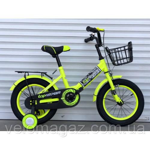 """Велосипед детский TopRider-09 14"""" двухколесный, салатовый"""