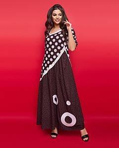 """Комбинированное длинное платье в горошек """"Shana"""" с рукавом до локтя (большие размеры)"""