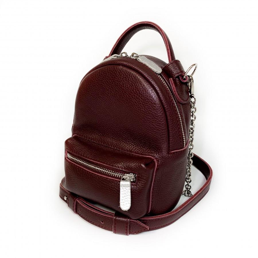 Сумка-рюкзак на поясная, через плечо кожаная марсала флотар 1600