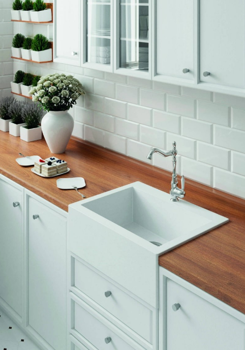 Гранитная мойка кухонная накладная  490 мм х 635 мм х 220 мм (белый)