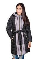 Зимняя куртка женская Алена (черный/серый)