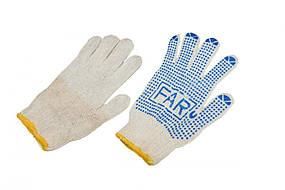 Перчатки  рабочие х/б белая с пвх покрытием фар far