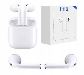 Беспроводные сенсорные наушники TWS i12 белые 5.0 Bluetooth