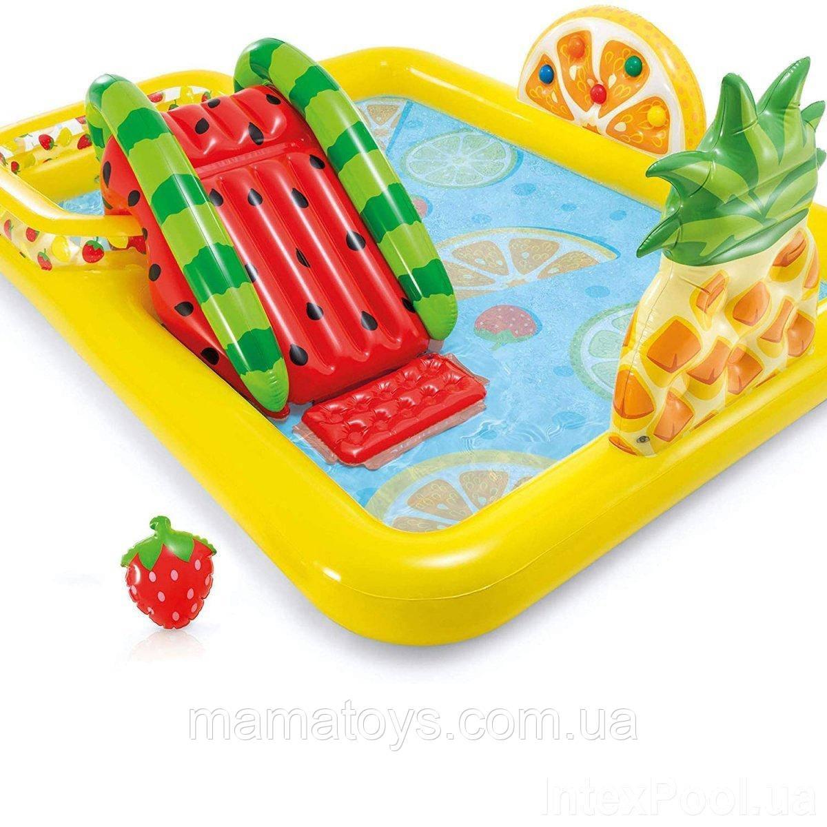 Детский надувной бассейн игровой центр 57158 Intex Веселый фрукт, 244 x 191 x 91 см, с горкой, от 2-х лет