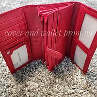 Красный кожаный женский кошелек с визитницей Marco Coverna