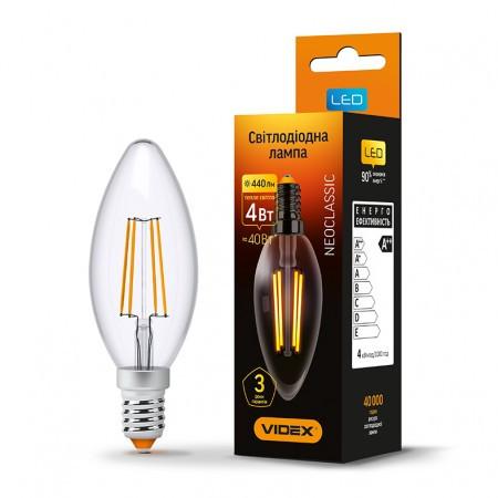 LED лампа VIDEX C37F 4W E14 3000K 220V