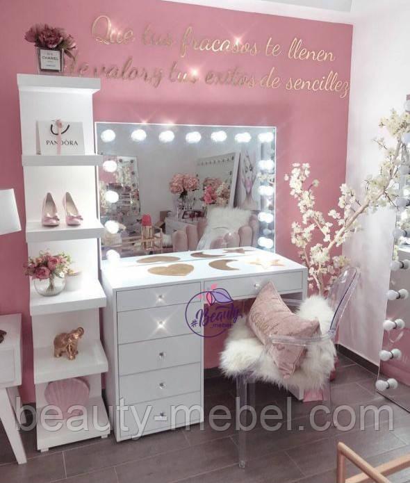 Стол для макияжа с высоким гримерным зеркалом, стол визажиста с ящиками, цвет - белый