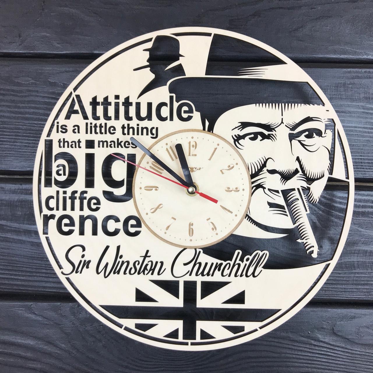 Деревянные часы на стену «Уинстон Черчилль»